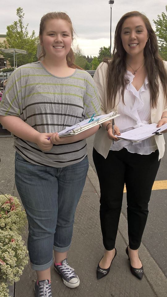 Here is a picture of my daughter and I collecting signatures from District 28 registered voters.